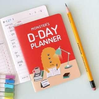 PO Cute Monster D Day Planner Note Book Notebook 4 Designs 31 Days 1 Month