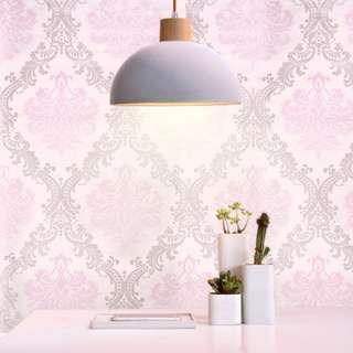 wallpaper pastel pink with silver victorian damask design