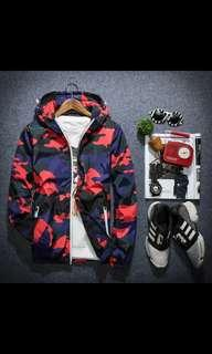 Camo jacket / windbreaker red & blue with reflective details