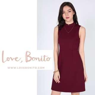 ✨BNWT BNIB LB LoveBonito Herina High Neck Dress From Love, Bonito, Wine Red, Size L Fits Size M, Size L, UK 10/12