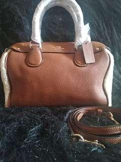 Coach Mini Bennet Satchel Shearing n Leather Brown
