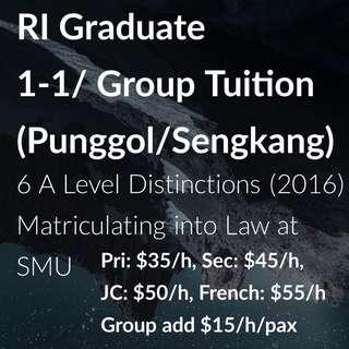 (Punggol/Sengkang) 1-1/Group Lessons for Primary/Secondary/JC