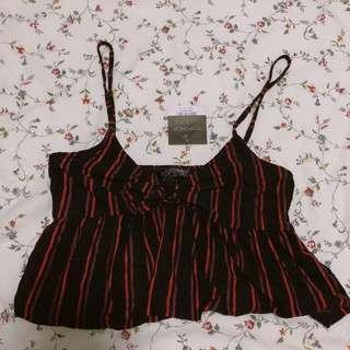 Topshop stripe spag ribbon tie top