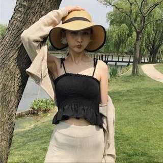 [BN] instock 🚚 ruffle hem tube top with straps