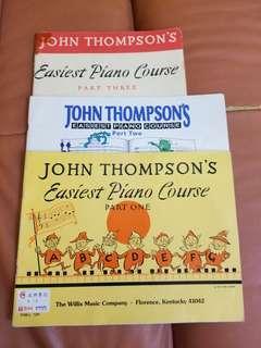 John Thompson's Easiest Piano Course Part one two three 鋼琴書