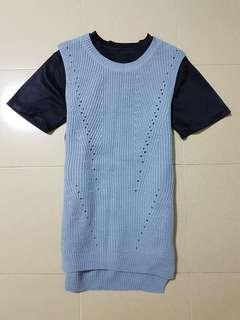 Sleeveless Blue Korean Outerwear