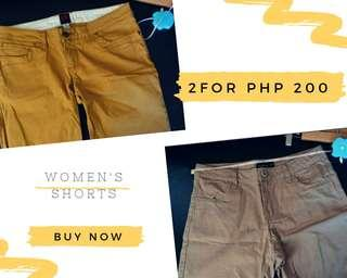 2 for Php 200 • Women's Shorts • Fresh Gear, No Apologies • Sizes 28-29