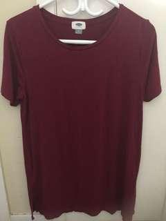 Half sleeves maroon shirt