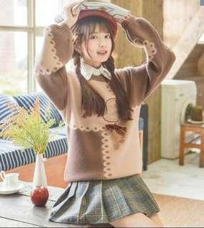 🚚 BN Sweet Brown Knitted Sweater for Girls Size M