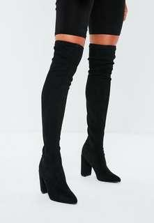 Over the knee Zara heeled black boots size 9
