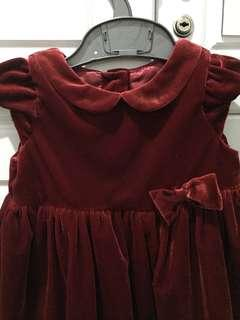 H&M red velvet dress 4-6 months