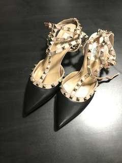 Valentino Rockstud Cage Heels Black and Poudre/Nude