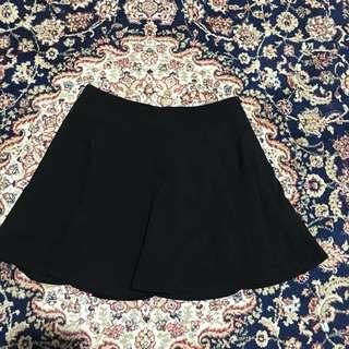 Romwe Black Circle Skater Pleat Skirt