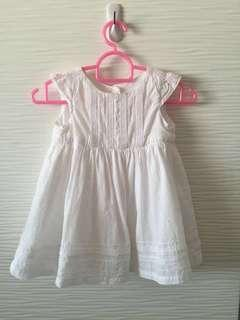 * 0-3M * Mothercare white dress (free mail)