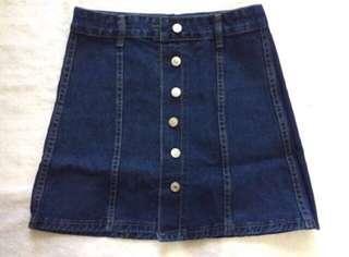 High Waist Button Down Denim Skirt