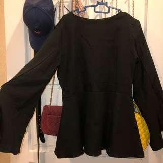 Black Peplum Top With Flared Long Sleeves #3x100
