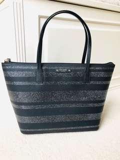 💯 全新Kate Spade Handbag ♠️ 黑銀閃粉手袋 (連塵袋)