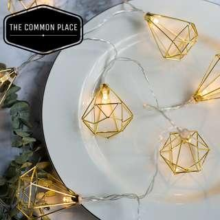 INSTOCK Vintage Gold Metal Diamond LED Fairy Lights Party Decor
