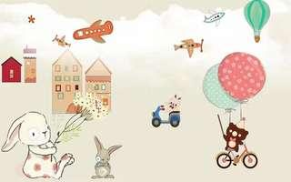 So cute Mural for kids room, living room, kindergarten etc