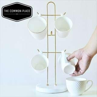 INSTOCK Scandinavian White Marble & Gold Cup Holder Organizer / Jewellery Stand