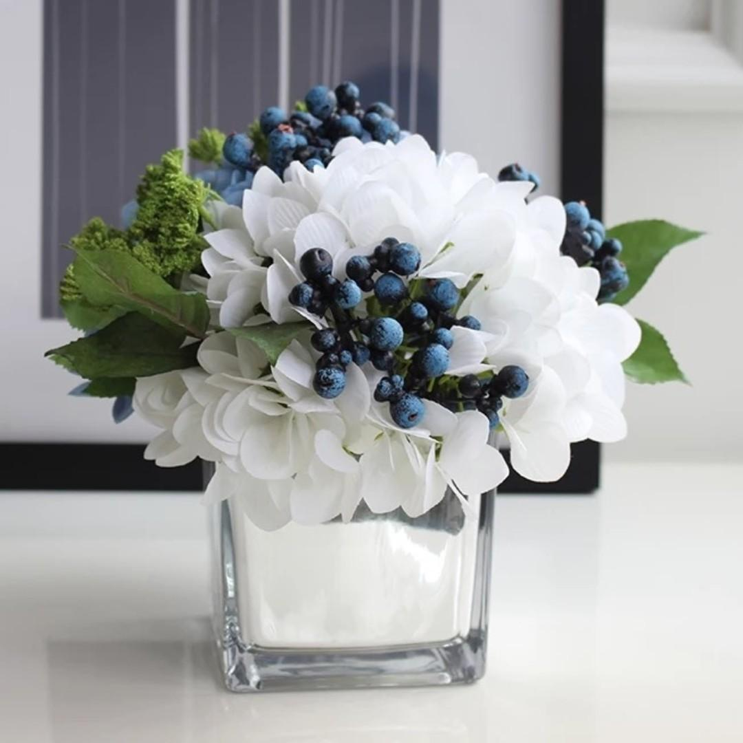 Afs13 Artificial Flowers Cube Vase Arrangement Square Vase Assorted Designs Gardening Flowers Bouquets On Carousell