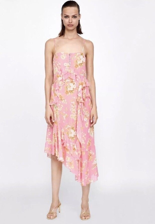 738bb6aed Authentic Zara Frilled Asymmetric Dress Pink Floral, Women's Fashion ...