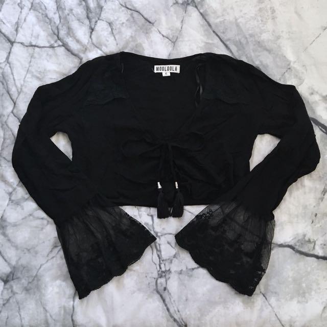 Black lace up crop top