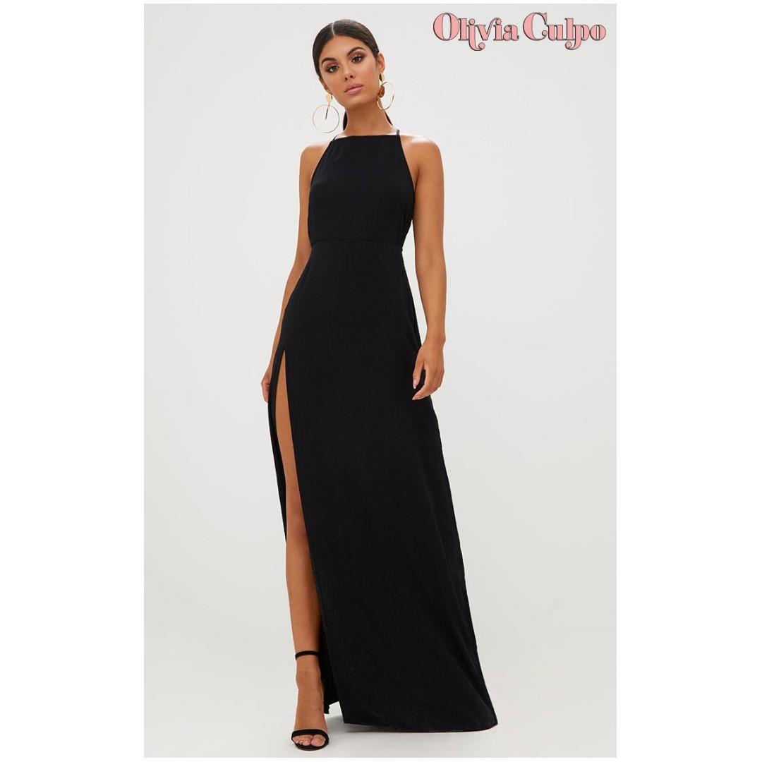 BLACK STRAPPY BACK DETAIL CHIFFON MAXI DRESS