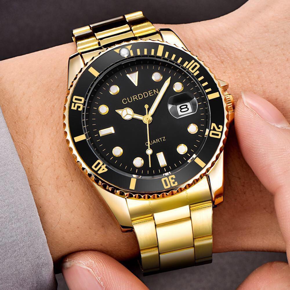 Curdden Mens Luxury Stainless Steel Quartz Wristwatch