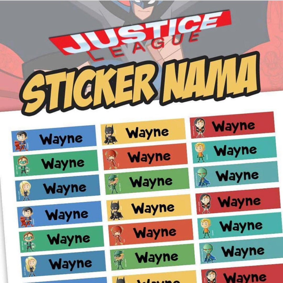Custom sticker label justice league on carousell