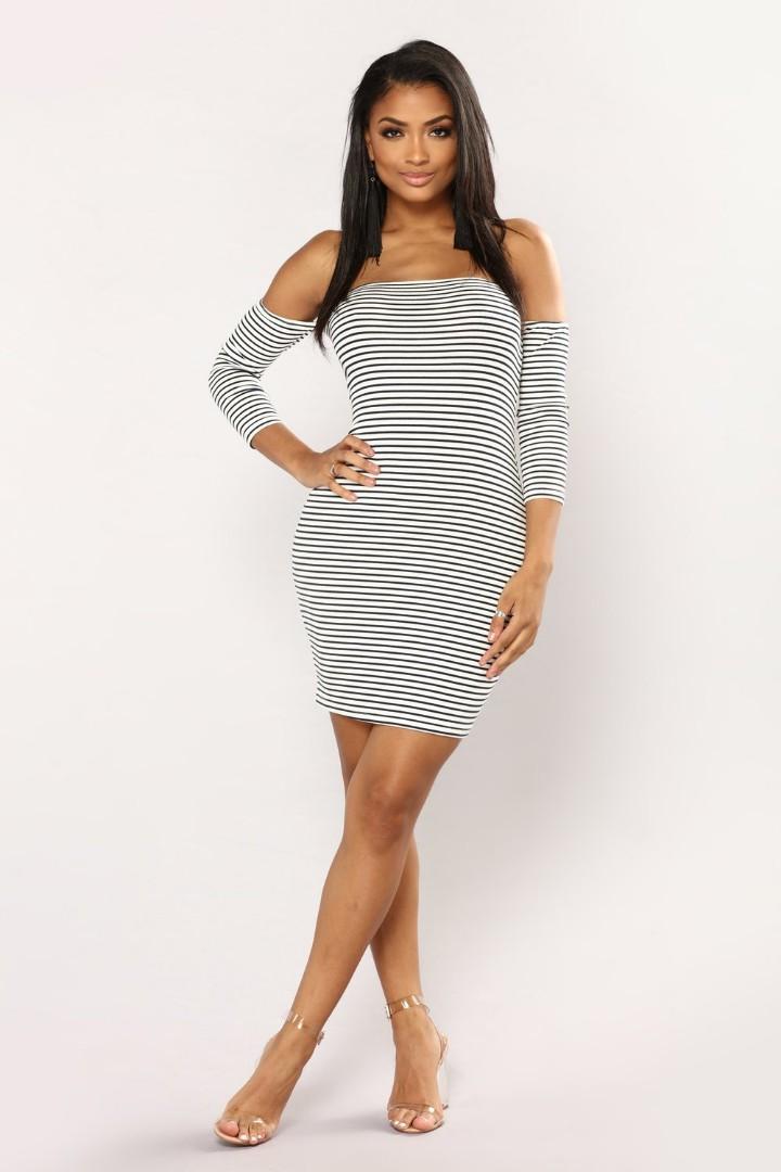 36eaada271a FashionNova Follow My Lead Striped Dress in White Navy