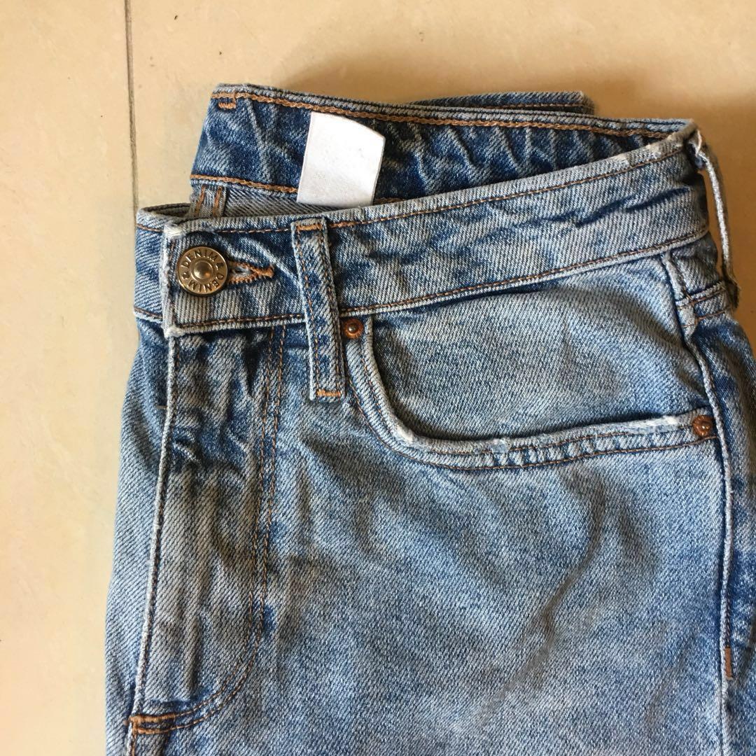 H&M 高腰濶腳牛仔褲 wide leg jeans special distress foot