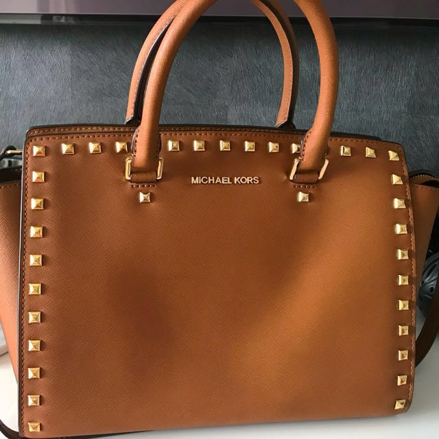10eac9893813 ... italy michael kors selma large saffiano leather satchel camel brown  luxury bags wallets on carousell 46034