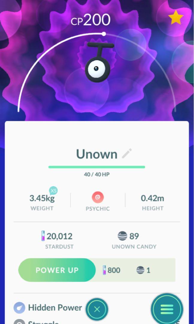 Pokemon go unown