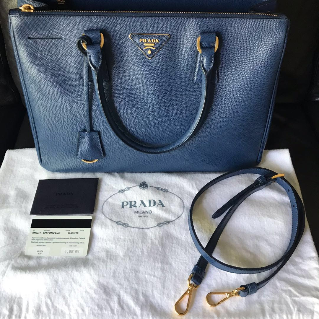 1b1629d61c43 ... real prada saffiano lux bluette bn 2274 luxury bags wallets handbags on  carousell b29ce 439a7