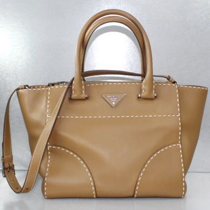 8078d497a54d SALES!! Prada Light Brown Full Leather Handbag With Additional Strap ...