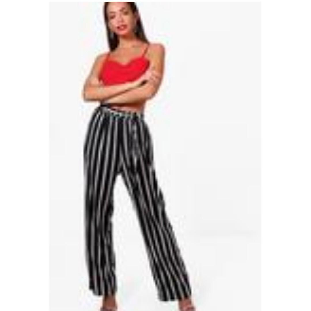 Stripe Paperbag Waist Wide Leg Trousers