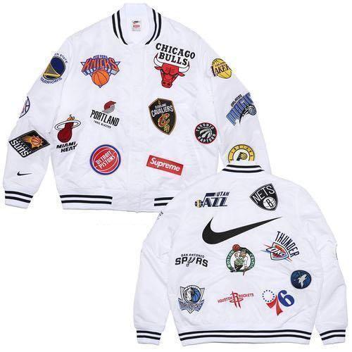 Criatura Cardenal cargando  Supreme x Nike NBA White Satin Jacket, Men's Fashion, Clothes, Tops on  Carousell