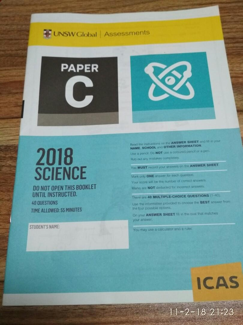 UNSW ICAS science exam paper, Books & Stationery, Textbooks