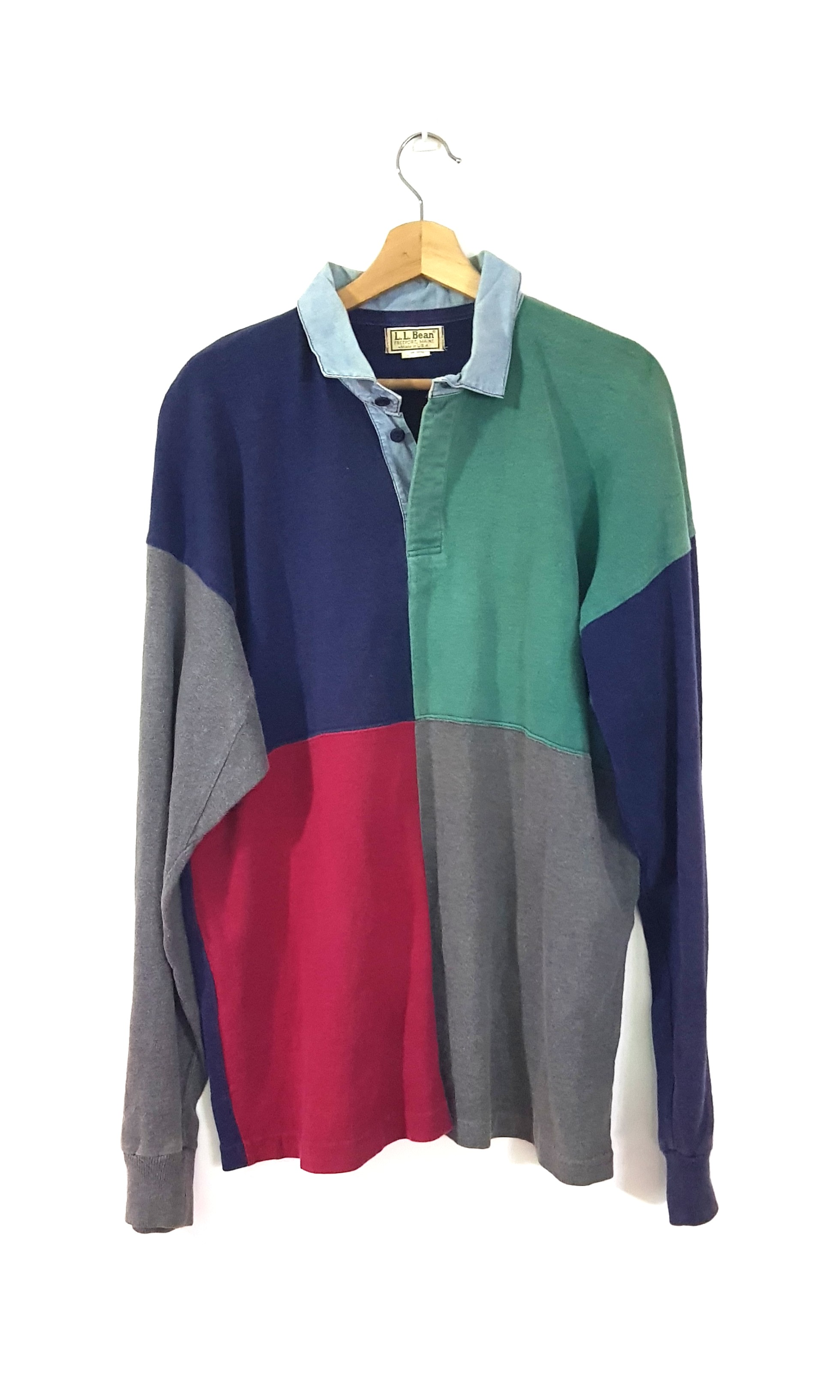 868a6017 Vintage LL Bean Colour Block Rugby Polo, Men's Fashion, Clothes, Tops on  Carousell