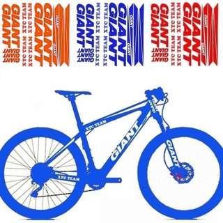 GIANT XTC frame stickers