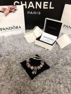 PANDORA潘朵拉 17cm蛇鍊 + 9顆珠