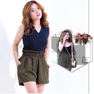 Army Green Highwaist Shorts With Pockets