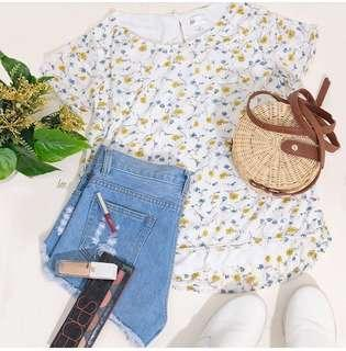 White Mini Floral Shift Top With Lining