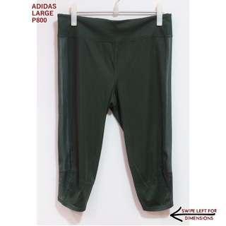 Adidas Dark Green 3/4 Leggings