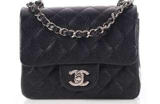 Chanel Mini Square in Black Caviar SHW