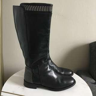 Vera Gomma Studded Leather Tall Boots Size 40