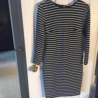 Black&White Stripped Fitted Dress