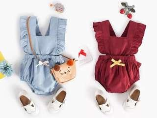 Jumpsuit for baby girl with bowknot