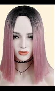 Best of ombré dip dye cotton candy pink centre parting bob hair